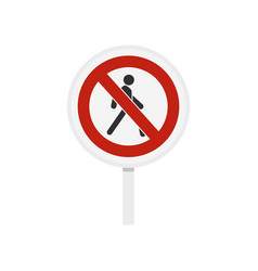 No pedestrian traffic sign icon flat style vector