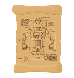 Old Drawing of robot on scroll Design of vector