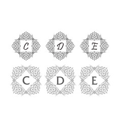 ornament initial template set vector image