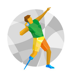 Physically disabled sportsman throwing shot vector