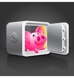 Piggy bank in a safe vector