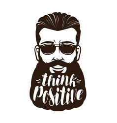 Portrait of happy bearded man or hipster think vector