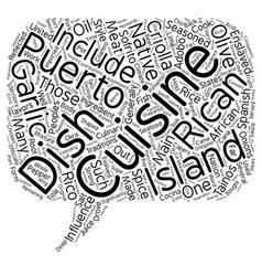Puerto Rican Cuisine text background wordcloud vector
