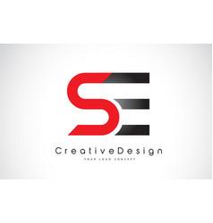 Red and black se s e letter logo design creative vector