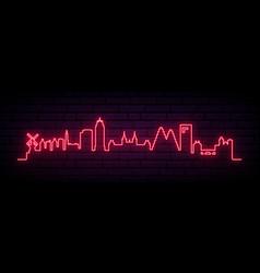 red neon skyline amsterdam city bright vector image