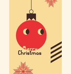 retro christmas card design with cartoon ball vector image