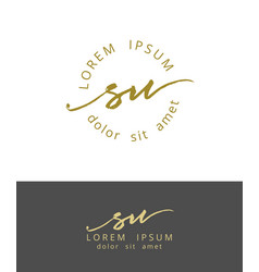 S u handdrawn brush monogram calligraphy logo vector