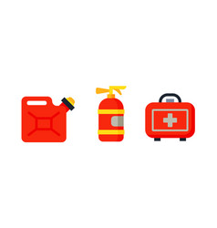 safety car medical kit isolated canister fire vector image