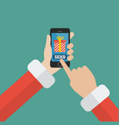 santa claus sending gift using smartphone vector image