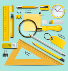 school supplies yellow stationery accessories on vector image