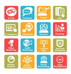 Seo and internet service icons set vector
