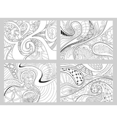 Set of four abstract background with lines wave vector image