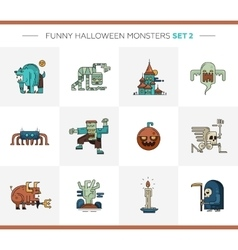 Set of Halloween line flat design modern icons and vector image