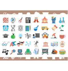 Set of icons for school and student theme vector