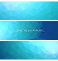 Set of polygonal triangular blue background vector image