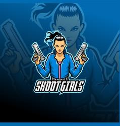 shoot girl esport mascot logo vector image