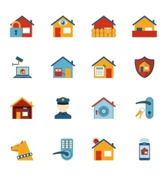 Smart home security system flat icons set vector