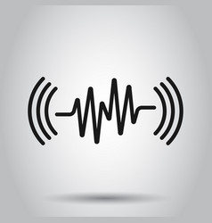 Sound wave icon in flat style heart beat on vector