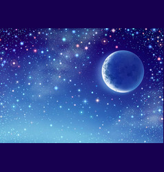 Starry sky with crescent vector