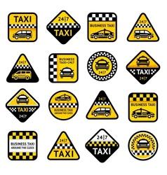 Taxi set labels vector image