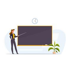 teacher in classroom near chalkboard conduct vector image