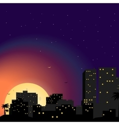 Town city at night vector