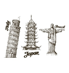 Travel Hand drawn sketch Italy Japan Brazil vector