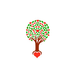 tree with loving hearts logo vector image