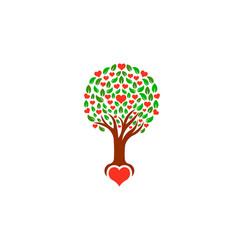 tree with loving hearts logo vector image