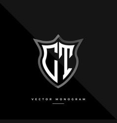 Trendy ct monogram on shield isolated on dark vector