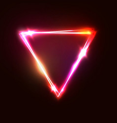 Upside down triangle background neon sign vector