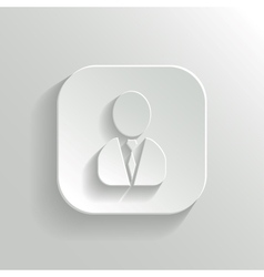 User icon - white app button vector