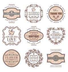 vintage romantic labels set vector image