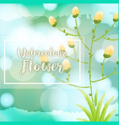 Watercolor flower background with yellow flowers vector