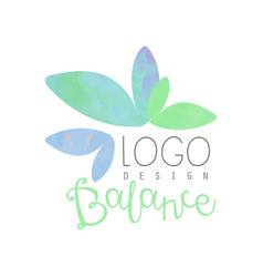 Watercolor logo design with abstract leaves vector
