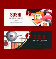 Watercolour design with creative sushi-themed vector