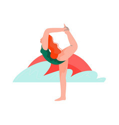 woman practicing yoga on beach at sunset girl vector image