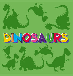 word dinosaurs with many dinosaurs in background vector image