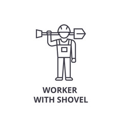 worker with shovel line icon sign vector image