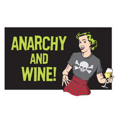 anarchy and wine punk rock housewife design vector image