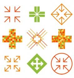 arrow cross signs vector image vector image