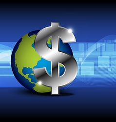 icon money with globe vector image vector image