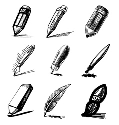 Pens and pencils collection vector image
