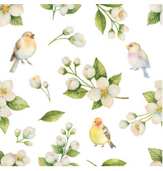 watercolor seamless pattern with bird and vector image vector image