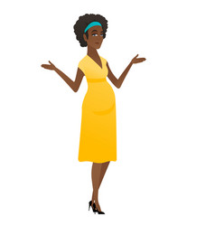 african confused pregnant woman with spread arms vector image vector image