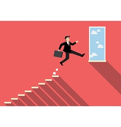 Businessman jumping to success vector