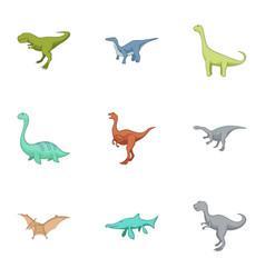 carnivorous dinosaurs icons set cartoon style vector image