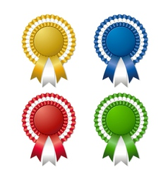 colored rosettes with ribbon vector image vector image