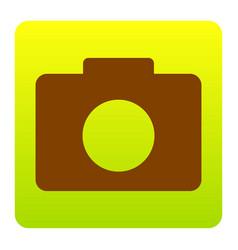 digital camera sign brown icon at green vector image