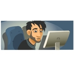 Male computer programmer working character vector image